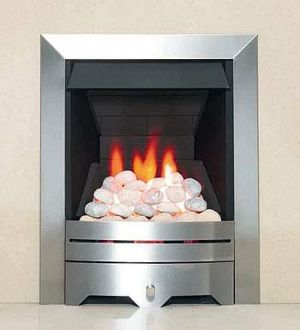 Gas fire within modern fireplace.